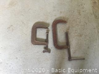 2 LARGE C CLAMPS